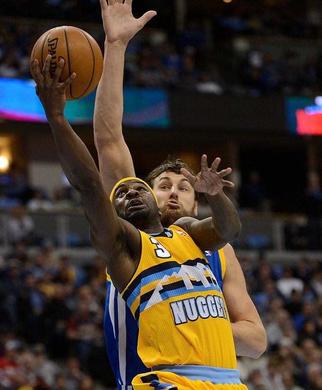 . DENVER, CO. - APRIL 23: Denver Nuggets point guard Ty Lawson (3) puts up a shot in the second quarter. The Denver Nuggets took on the Golden State Warriors in Game 2 of the Western Conference First Round Series at the Pepsi Center in Denver, Colo. on April 23, 2013. (Photo by John Leyba/The Denver Post)