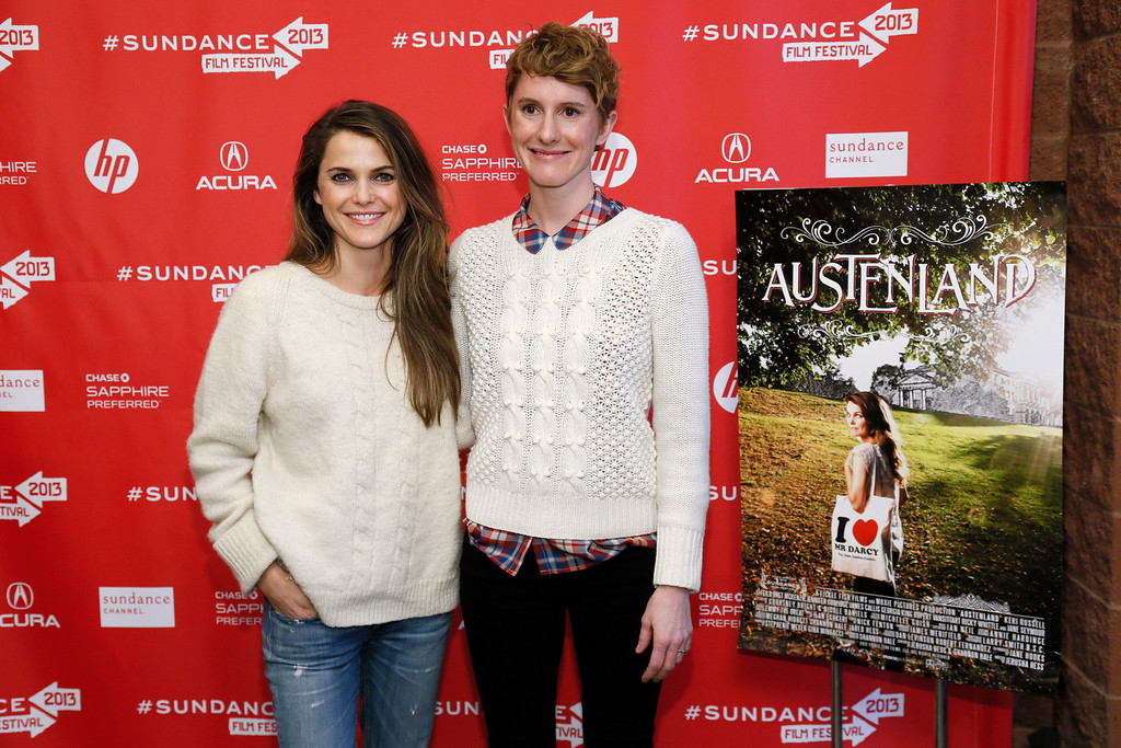 ". Actress Keri Russell, left, and director Jerusha Hess, right, pose together at the premiere of ""Austenland\"" during the 2013 Sundance Film Festival on Friday, Jan. 18, 2013 in Park City, Utah. (Photo by Danny Moloshok/Invision/AP)"