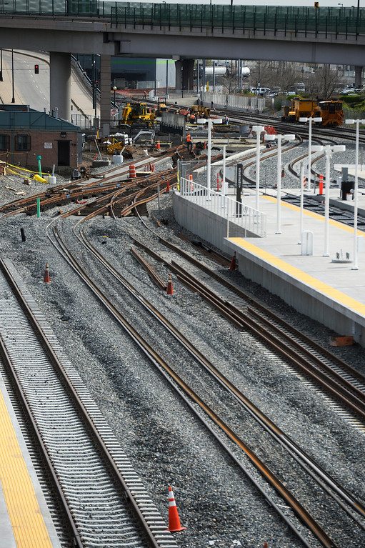 . DENVER, CO. - APRIL 25: Rail tracks under construction near the Train Hall  at the Union Station Transit Center during a media tour Friday morning, April 25, 2014. The transit center is scheduled to open May 11, 2014, the  commuter rails are scheduled to open in 2016 which will eventually take passengers to DIA, Arvada/Wheat Ridge and Westminster. (Photo By Andy Cross / The Denver Post)