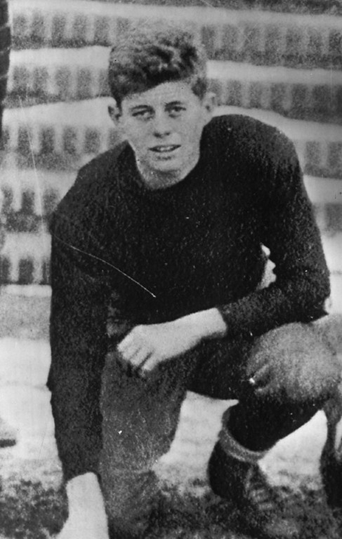 ". Kennedy strikes a pose at age 16, when he played football for the Choate School in Wallingford, Conn. Kennedy, who played with the ""juniors\"" (boys not heavy enough for varsity), was described by a teammate as \""a tiger on defense.\"" He played left end and tackle. Denver Post file"