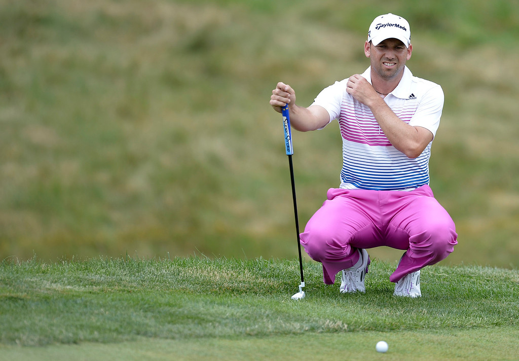 . Sergio Garcia of Spain waits to putt on the 9th green during the fourth round of the US Open at Merion Golf Club on June 16, 2013 in Ardmore, Pennsylvania.  BRENDAN SMIALOWSKI/AFP/Getty Images