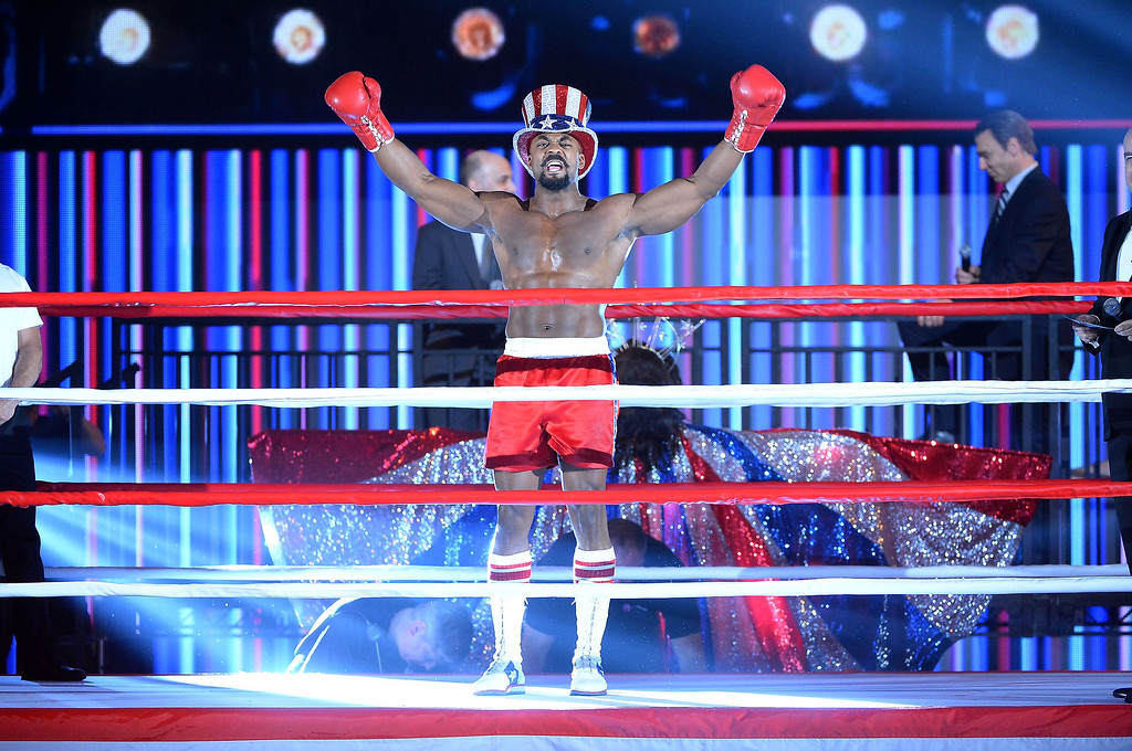 """. Terence Archie and the cast of \""""Rocky\"""" performs during the 68th Annual Tony Awards at Radio City Music Hall on June 8, 2014 in New York City.  (Photo by Theo Wargo/Getty Images for Tony Awards Productions)"""