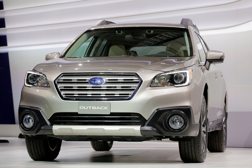 . The 2015 Subaru Outback is shown at the New York International Auto Show, Thursday, April 17, 2014 in New York. (AP Photo/Mark Lennihan)