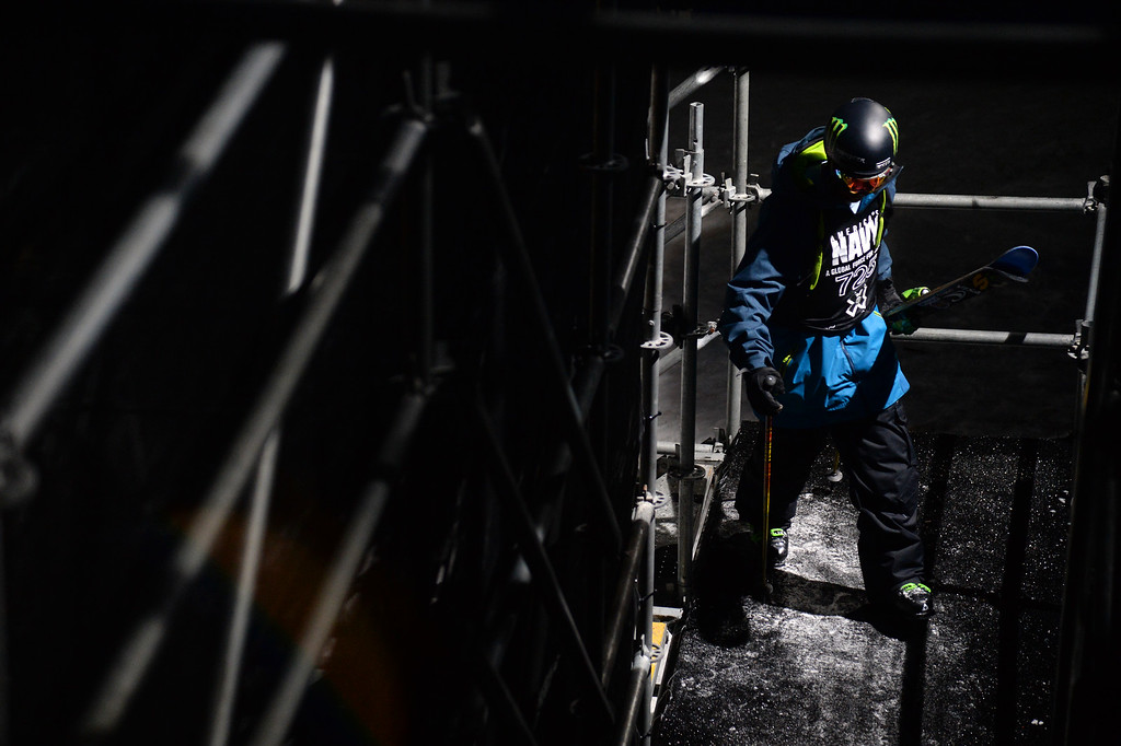 . David Wise walks back up to the top of the pipe after his first run at the men\'s ski superpipe final in Aspen at Winter X Games in Aspen, January 24, 2014. (Photo By Mahala Gaylord/The Denver Post)