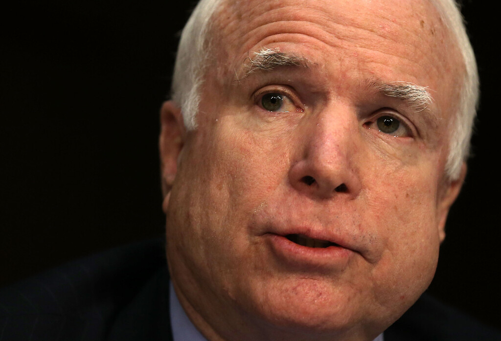 . WASHINGTON, DC - JANUARY 23:  U.S. Senator John McCain (R-AZ) speaks during a hearing before the Senate Foreign Relations Committee on Capitol Hill January 23, 2013 in Washington, DC. Lawmakers questioned Clinton about the security failures during the September 11 attacks against the U.S. mission in Benghazi, Libya, that led to the death of four Americans, including U.S. Ambassador Christopher Stevens. (Photo by Alex Wong/Getty Images)