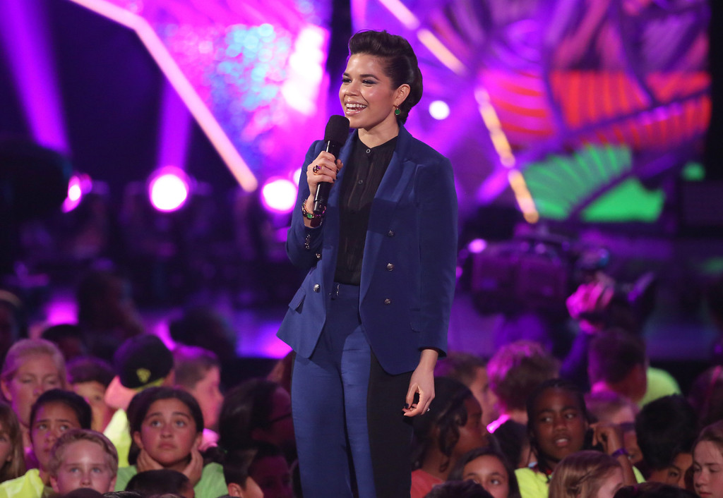. America Ferrera speaks on stage at the 27th annual Kids\' Choice Awards at the Galen Center on Saturday, March 29, 2014, in Los Angeles. (Photo by Matt Sayles/Invision/AP)