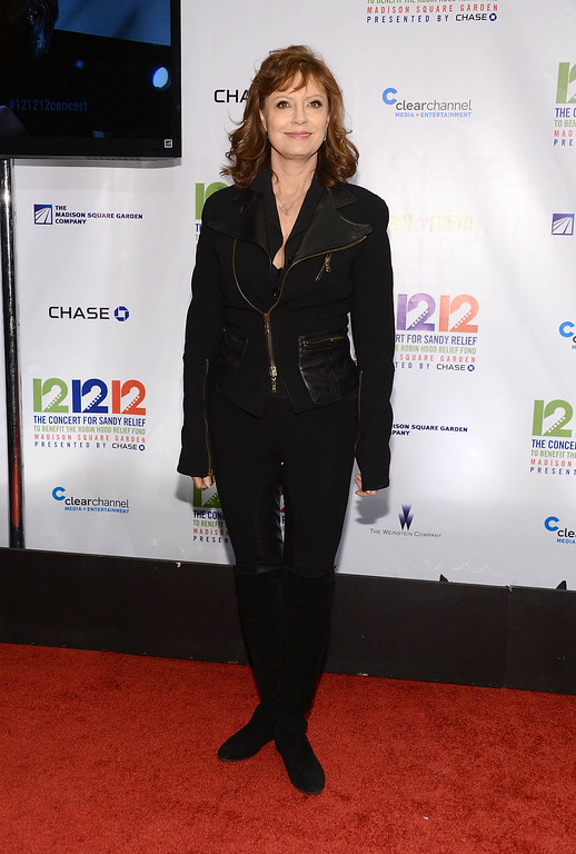 ". NEW YORK, NY - DECEMBER 12:  Actress Susan Sarandon attends ""12-12-12\"" a concert benefiting The Robin Hood Relief Fund to aid the victims of Hurricane Sandy presented by Clear Channel Media & Entertainment, The Madison Square Garden Company and The Weinstein Company at Madison Square Garden on December 12, 2012 in New York City.  (Photo by Dimitrios Kambouris/Getty Images)"