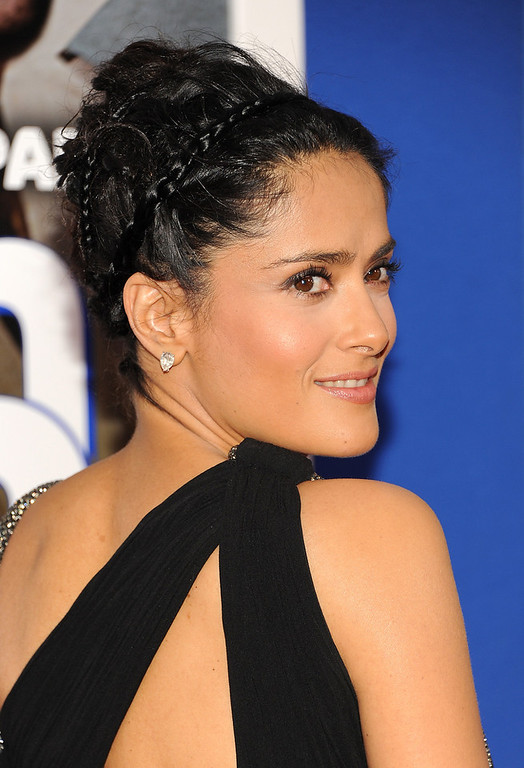 ". Actress Salma Hayek attends the premiere of ""Grown Ups 2\"" at the AMC Loews Lincoln Square on Wednesday, July 10, 2013 in New York. (Photo by Evan Agostini/Invision/AP)"