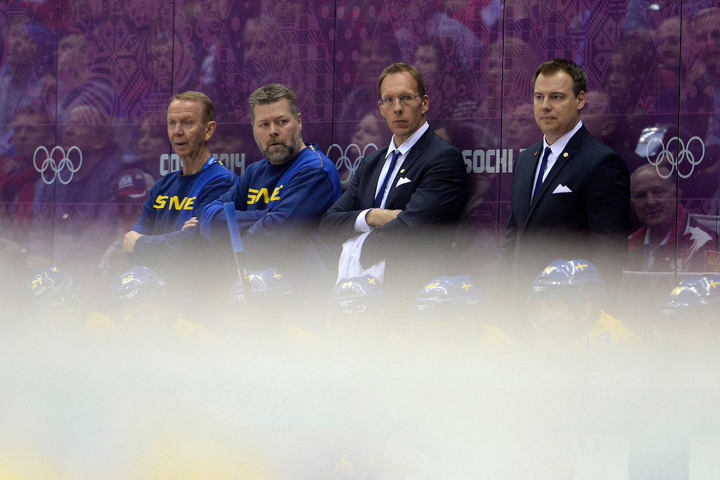 . Sweden\'s management shows concern as they trail late to Canada during the third period of Canada\'s 3-0 win in the men\'s ice hockey gold medal game against Sweden. Sochi 2014 Winter Olympics on Sunday, February 23, 2014 at Bolshoy Ice Arena. (Photo by AAron Ontiveroz/ The Denver Post)