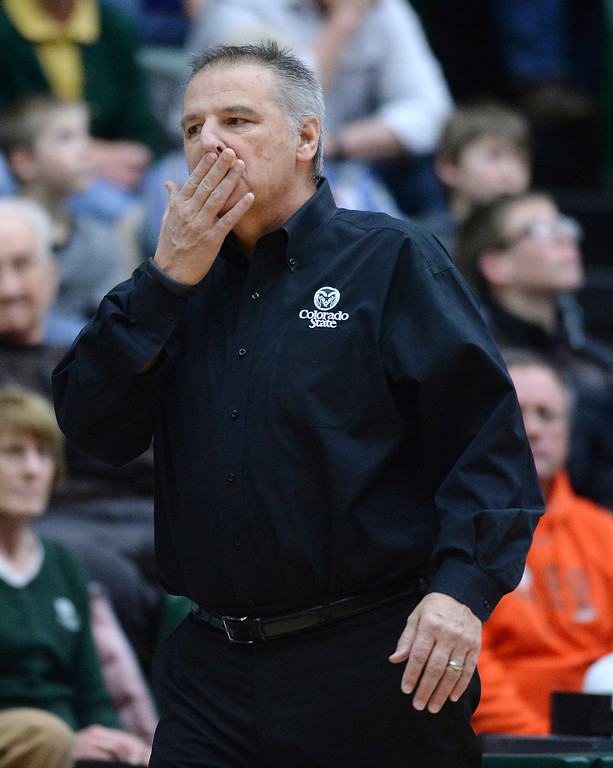 . Rams\' coach Larry Eustachy reacted to a call in the first half.  Photo By Karl Gehring/The Denver Post