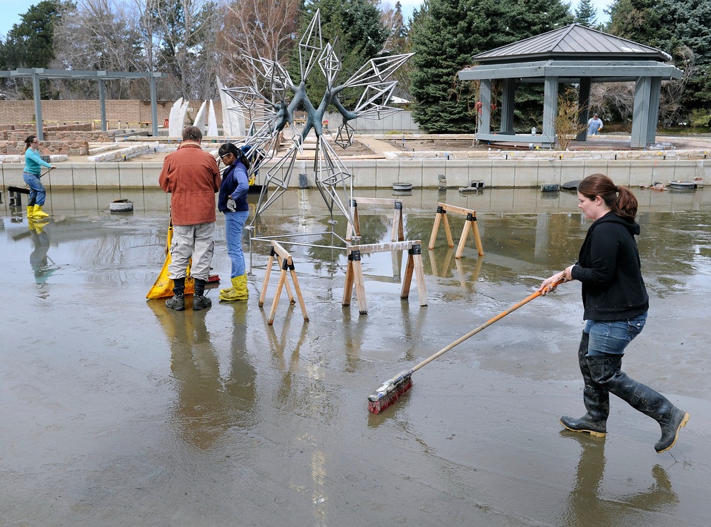 ". Garden volunteer and staff crews clean mud inside the pond left from the recent snowstorms, working carefully around ""All Diamonds\"", a sculpture by artist James Surls. Artists and volunteers work on a new art installation, Catalyst: Colorado Sculpture at the Denver Botanic Gardens.  (Photo By Kathryn Scott Osler/The Denver Post)"