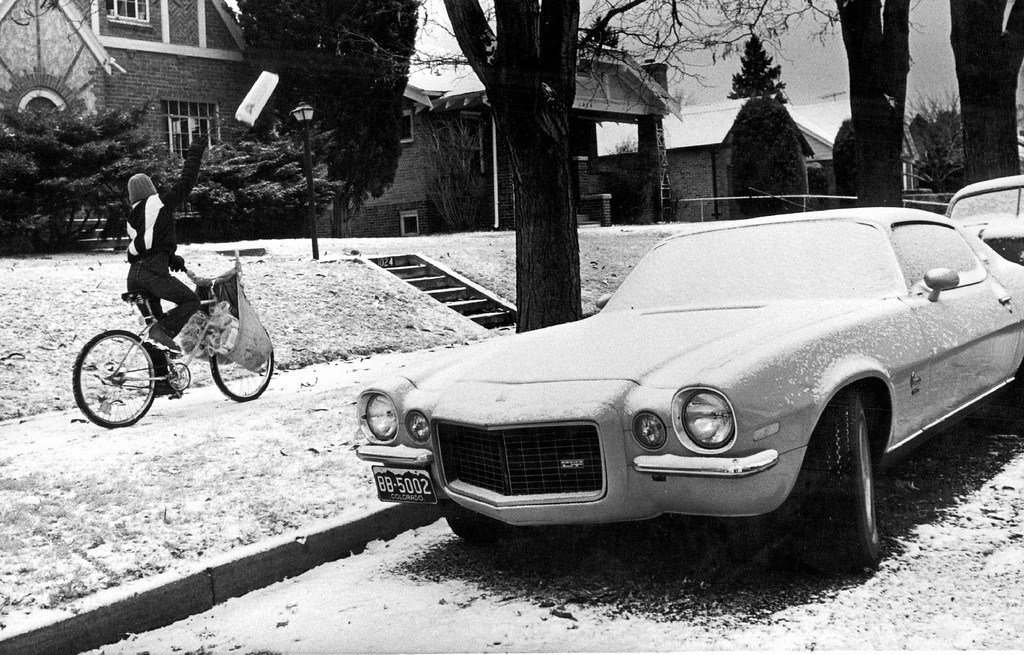 . Trent Parker on his morning Denver Post paper route in Denver. 1981.  (Photo by Seth Perlman/The Denver Post Archive)