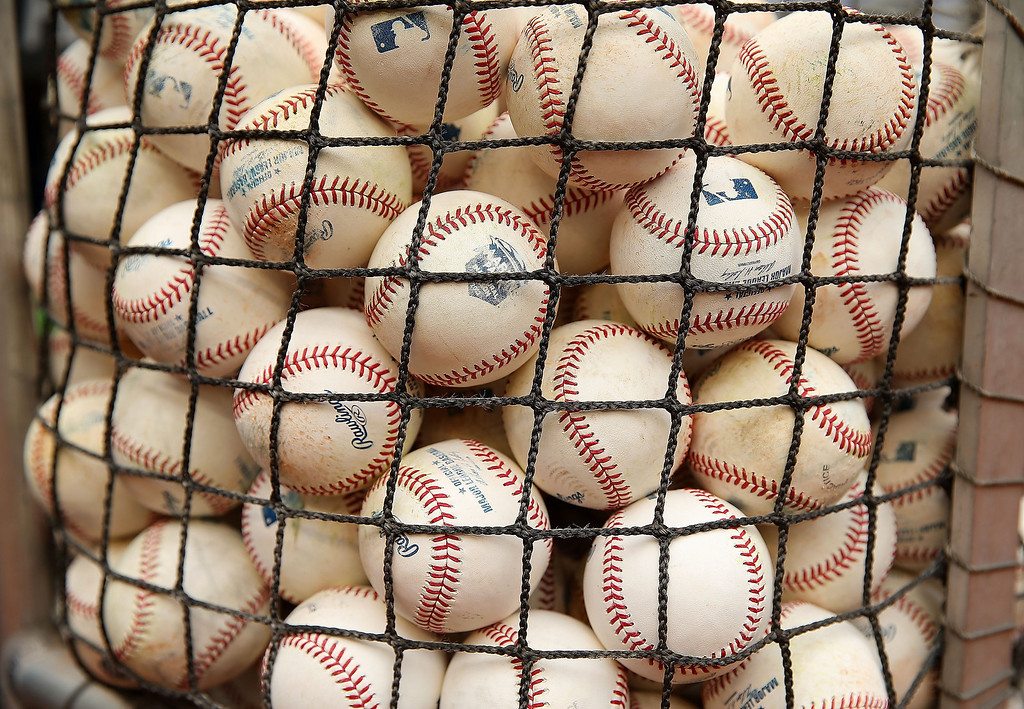 . A  view of batting practice balls during Opening Day between the Miami Marlins and the Colorado Rockies at Marlins Park between the Miami Marlins and the Colorado Rockies on March 31, 2014 in Miami, Florida.  (Photo by Mike Ehrmann/Getty Images)