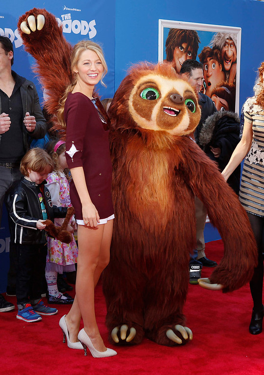""". Actress Blake Lively arrives for the premiere of the film \""""The Croods\"""" in New York, March 10, 2013.  REUTERS/Carlo Allegri"""