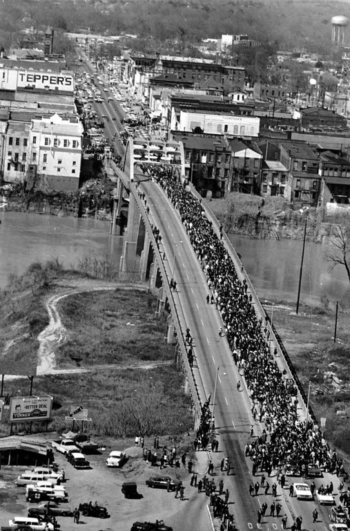 ". Civil rights marchers cross the Alabama river on the Edmund Pettus Bridge in Selma, Ala. to the State Capitol of Montgomery on March 21, 1965. The event is known as ""Bloody Sunday\"" because of the beating of voting rights marchers by state troopers as they began a march to Montgomery in March 1965. The 50-mile march prompted Congress to pass the Voting Rights Act that struck down impediments to voting by African-Americans and ended all-white rule in the South. (AP Photo/File)"