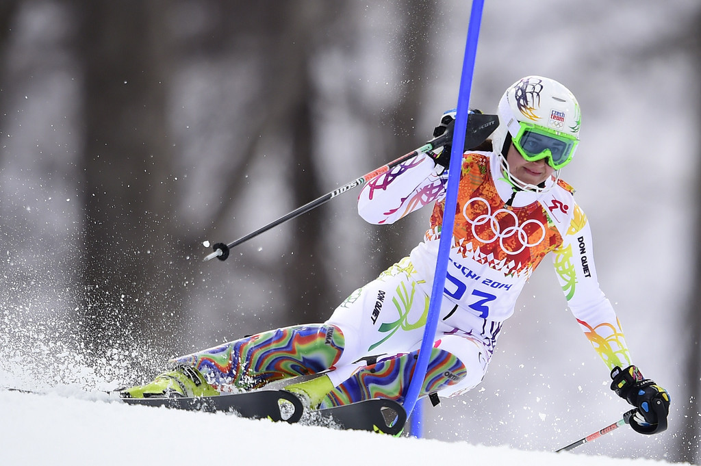 . Czech Republic\'s Sarka Strachova skis during the Women\'s Alpine Skiing Super Combined Slalom at the Rosa Khutor Alpine Center during the Sochi Winter Olympics on February 10, 2014.  AFP PHOTO / OLIVIER MORIN/AFP/Getty Images