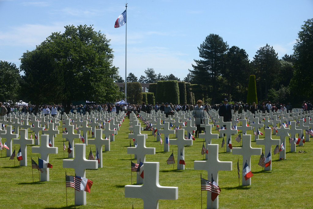. The Normandy American Cemetery on the 70th anniversary of D-Day June 6, 2014 in Colleville-sur-Mer, France.  (Photo by Antoine Antoniol/Getty Images)