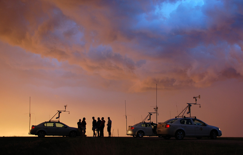 . The TWISTEX team pauses after a storm chase near Sherman, Texas on May 20, 2011. (Photo by Ed Grubb)