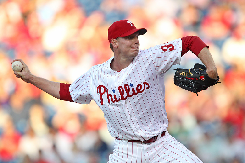 . Starting pitcher Roy Halladay #34 of the Philadelphia Phillies throws a pitch during a game against the Washington Nationals at Citizens Bank Park on May 22, 2012 in Philadelphia, Pennsylvania. (Photo by Hunter Martin/Getty Images)