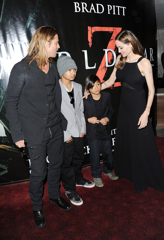 . Brad Pitt, Maddox Jolie-Pitt, Pax Jolie-Pitt and Angelina Jolie attend the World Premiere of \'World War Z\' at The Empire Cinema on June 2, 2013 in London, England.  (Photo by Stuart C. Wilson/Getty Images for Paramount Pictures International)