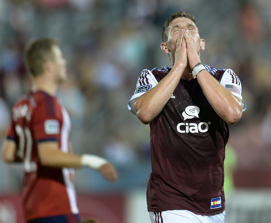 . Colorado midfielder Dillon Powers reacted after he missed an opportunity to score late in the second half. The Colorado Rapids defeated Chivas USA 3-0 at Dick\'s Sporting Goods Park Friday night, July 25, 2014. Photo by Karl Gehring/The Denver Post