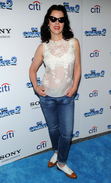 """. Debi Mazar attends \""""The Smurfs 2\"""" New York Blue Carpet Screening at Lighthouse International Theater on July 28, 2013 in New York City.  (Photo by Craig Barritt/Getty Images)"""