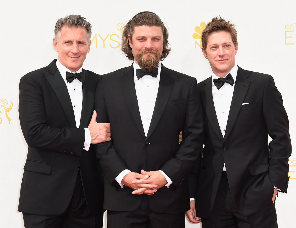 . (L-R) Actors Christopher Stanley, Jay R. Ferguson and Kevin Rahm attend the 66th Annual Primetime Emmy Awards held at Nokia Theatre L.A. Live on August 25, 2014 in Los Angeles, California.  (Photo by Frazer Harrison/Getty Images)