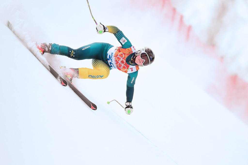 . Austria\'s Greta Small competes during the Women\'s Alpine Skiing Super Combined Downhill at the Rosa Khutor Alpine Center during the Sochi Winter Olympics on February 10, 2014.      AFP PHOTO / FABRICE COFFRINI/AFP/Getty Images