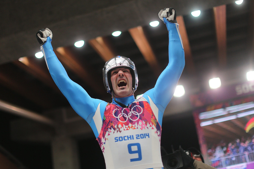 . Armin Zoeggeler of Italy celebrates at the end of his fourth run in the men\'s singles Luge at the Sanki Sliding Center at the Sochi 2014 Olympic Games, Krasnaya Polyana, Russia, 09 February 2014.  EPA/FREDRIK VON ERICHSEN
