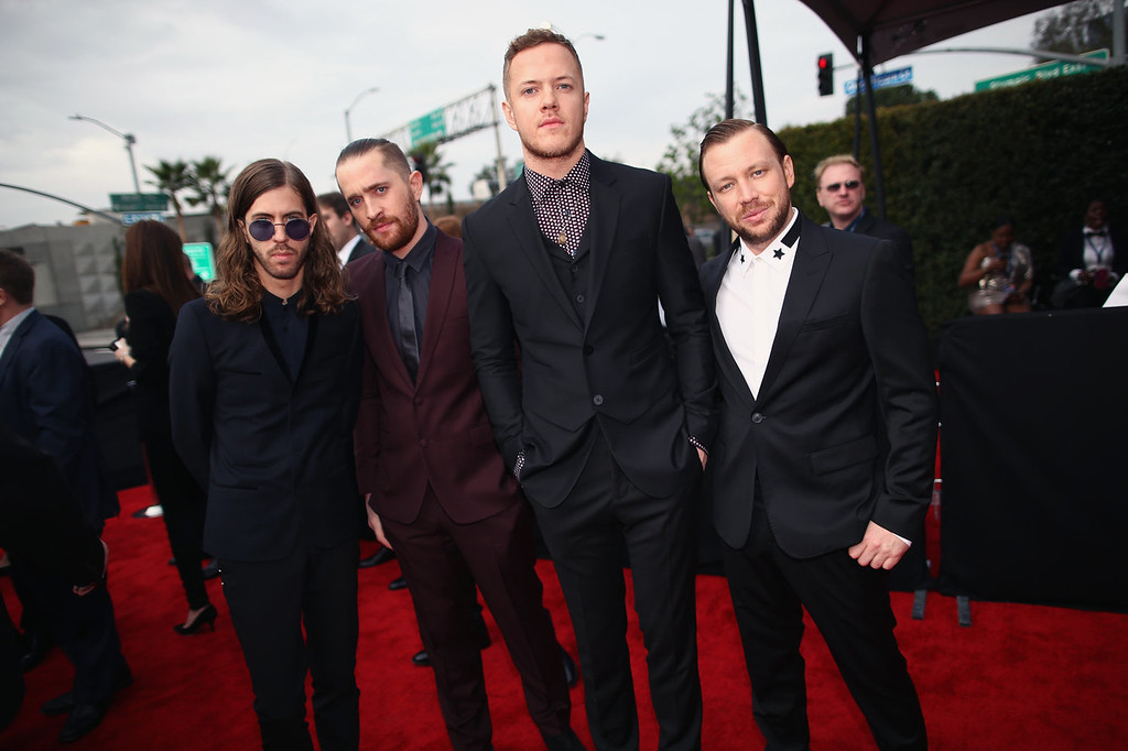 . Musicians Wayne Sermon, Daniel Platzman, Dan Reynolds and Ben McKee attend the 56th GRAMMY Awards at Staples Center on January 26, 2014 in Los Angeles, California.  (Photo by Christopher Polk/Getty Images for NARAS)