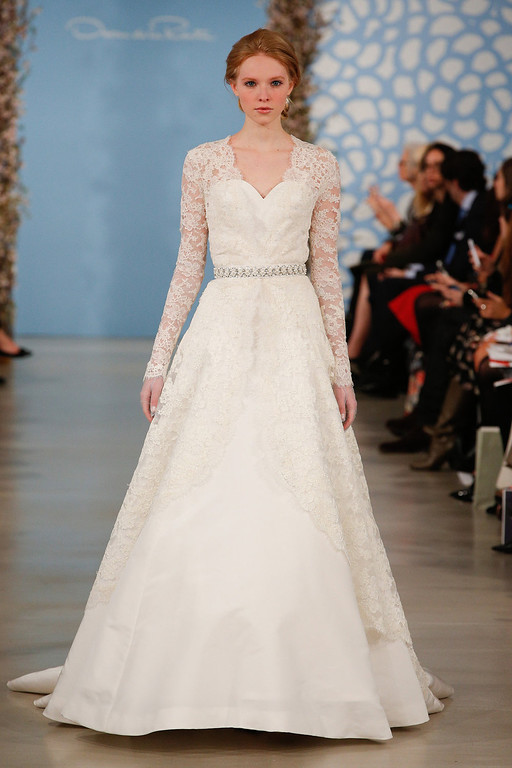 . A model walks the runway during the Oscar de la Renta 2014 Bridal Spring/Summer collection show on April 22, 2013 in New York City.  (Photo by JP Yim/Getty Images)
