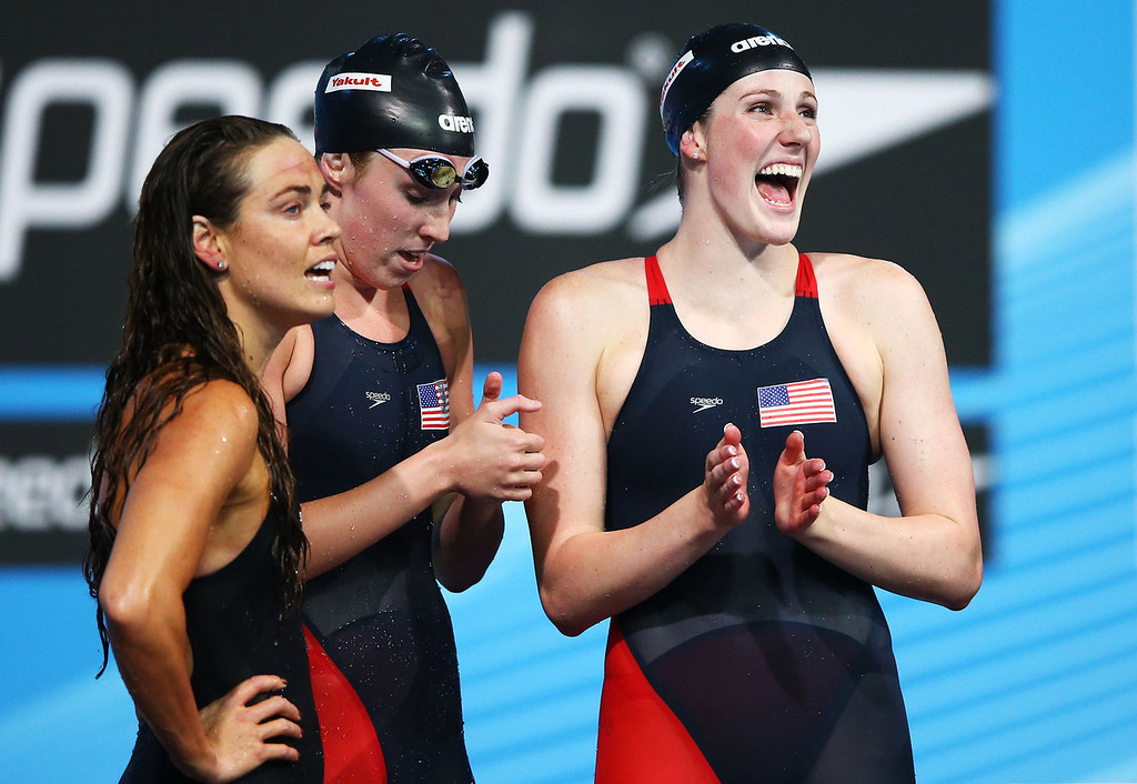 . (L-R) Natalie Coughlin, Shannon Vreeland and Missy Franklin of the USA celebrate after the Swimming Women\'s4x100mFreestyle on day nine of the 15th FINA World Championships at Palau Sant Jordi on July 28, 2013 in Barcelona, Spain.  (Photo by Al Bello/Getty Images)