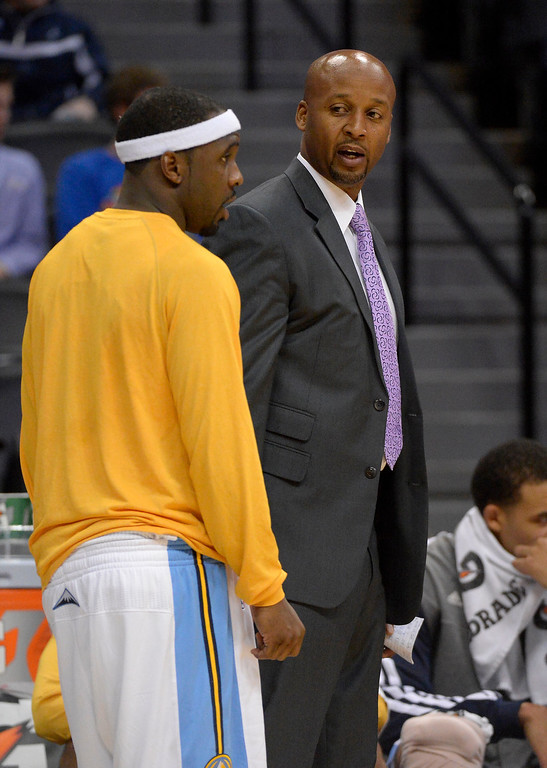 . DENVER, CO - OCTOBER 14: Denver Nuggets head coach Brian Shaw looks on during the game against the San Antonio Spurs October 14, 2013 at Pepsi Center. (Photo By John Leyba/The Denver Post)