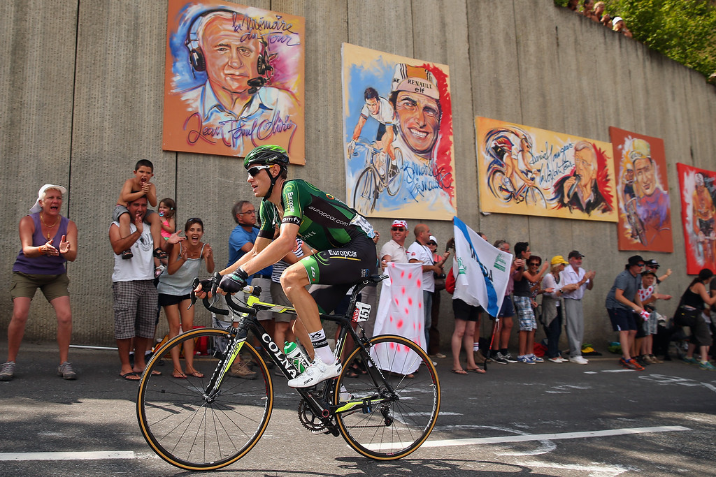 . Pierre Rolland of France and Team Europcar in action during the seventeenth stage of the 2014 Tour de France, a 125km stage between Saint-Gaudens and Saint-Lary-Soulan Pla d\'Adet, on July 23, 2014 in Saint-Lary Pla d\'Adet, France.  (Photo by Bryn Lennon/Getty Images)