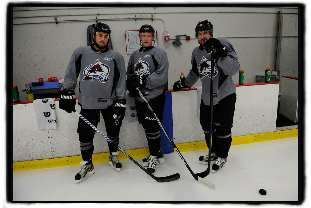 . Colorado Avalanche players, from left, Ryan O\'Reilly, Gabriel Landeskog, and Milan Hejduk workout, Thursday, December 22, 2011, at the Family Sports Center in Centennial.  RJ Sangosti, The Denver Post