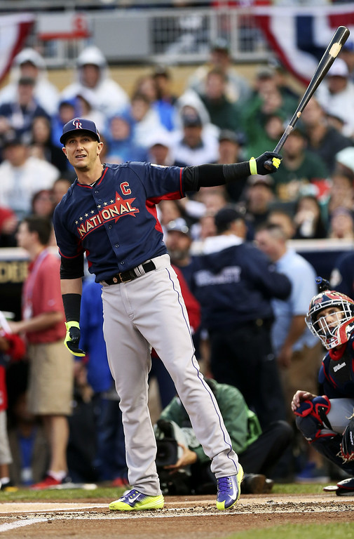. National League\'s Troy Tulowitzki, of the Colorado Rockies, hits during the MLB All-Star baseball Home Run Derby, Monday, July 14, 2014, in Minneapolis. (AP Photo/Jim Mone)