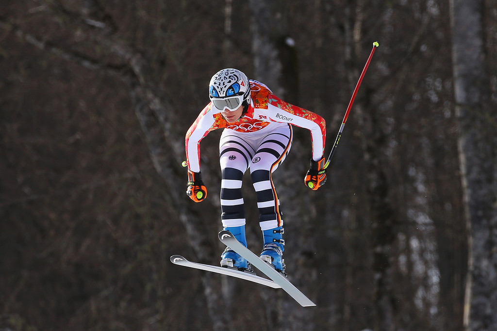 . Maria Hoefl-Riesch of Germany in action during the Alpine Skiing Women\'s Super Combined Downhill on day 3 of the Sochi 2014 Winter Olympics at Rosa Khutor Alpine Center on February 10, 2014 in Sochi, Russia.  (Photo by Doug Pensinger/Getty Images)