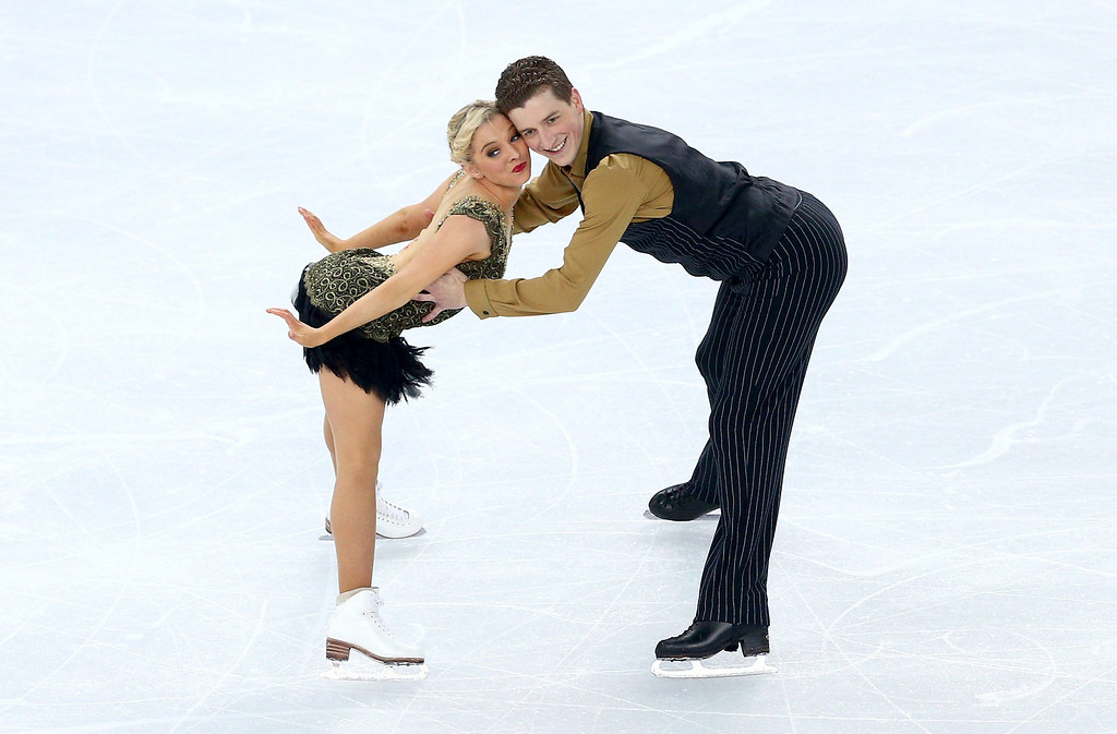 . Danielle O\'brien and Gregory Merriman of Australia compete during the Figure Skating Ice Dance Short Dance on day 9 of the Sochi 2014 Winter Olympics at Iceberg Skating Palace on February 16, 2014 in Sochi, Russia.  (Photo by Paul Gilham/Getty Images)