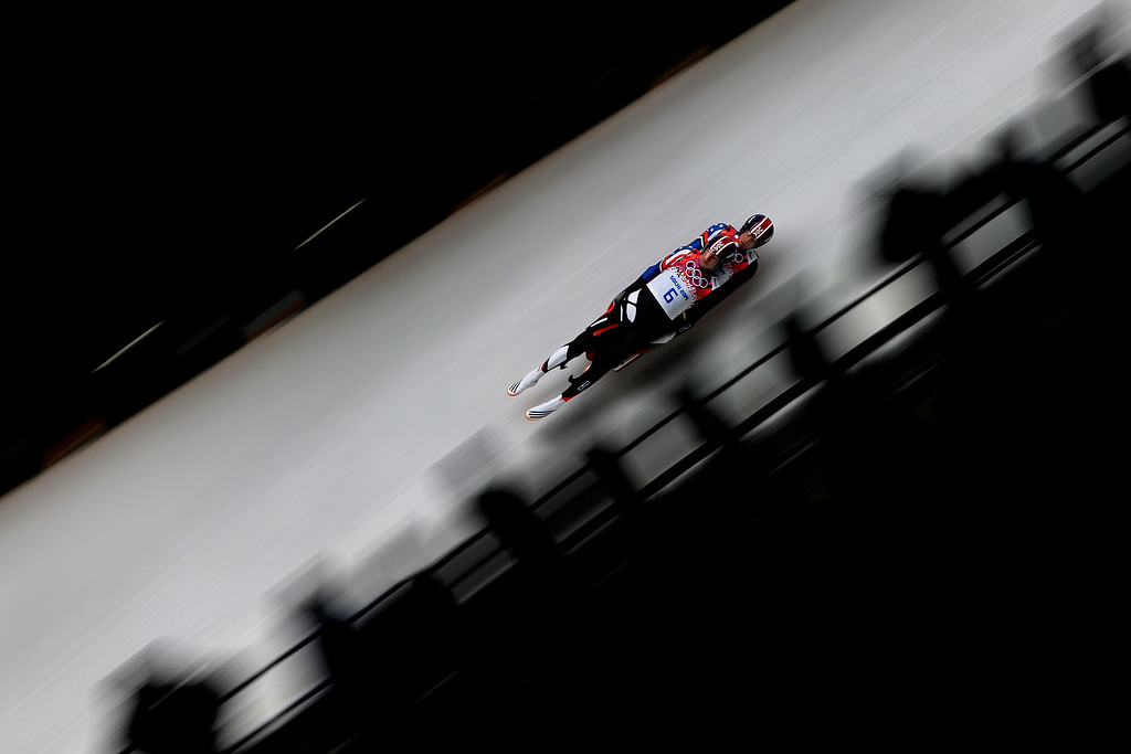 . Christian Niccum and Jayson Terdiman of the United States compete in the Men\'s Luge Doubles on Day 5 of the Sochi 2014 Winter Olympics at Sliding Center Sanki on February 12, 2014 in Sochi, Russia.  (Photo by Richard Heathcote/Getty Images)