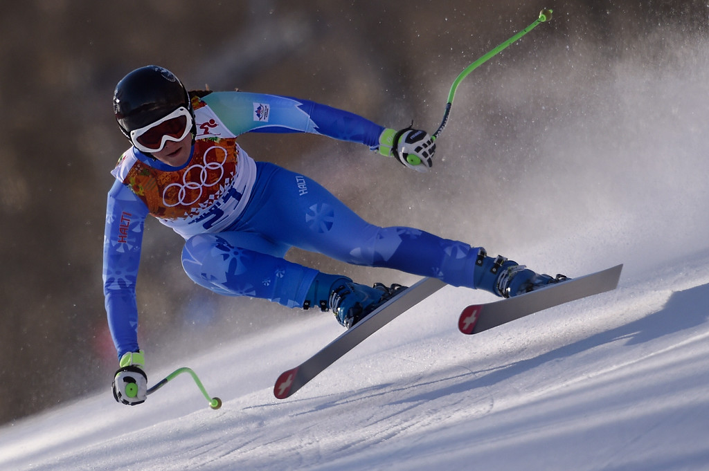. Slovenia\'s Tina Maze reacts skis during the Women\'s Alpine Skiing Downhill at the Rosa Khutor Alpine Center during the Sochi Winter Olympics on February 12, 2014.     AFP PHOTO / OLIVIER MORINOLIVIER MORIN/AFP/Getty Images