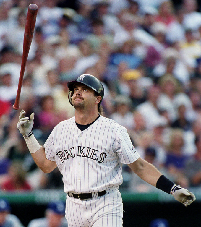 . LARRY WALKER -- Colorado Rockies\' Larry Walker reacts after striking out on a pitch from Los Angeles Dodgers starter Kevin Brown in the first inning at Denver\'s Coors Field on July 5, 1999. (AP Photo/David Zalubowski)