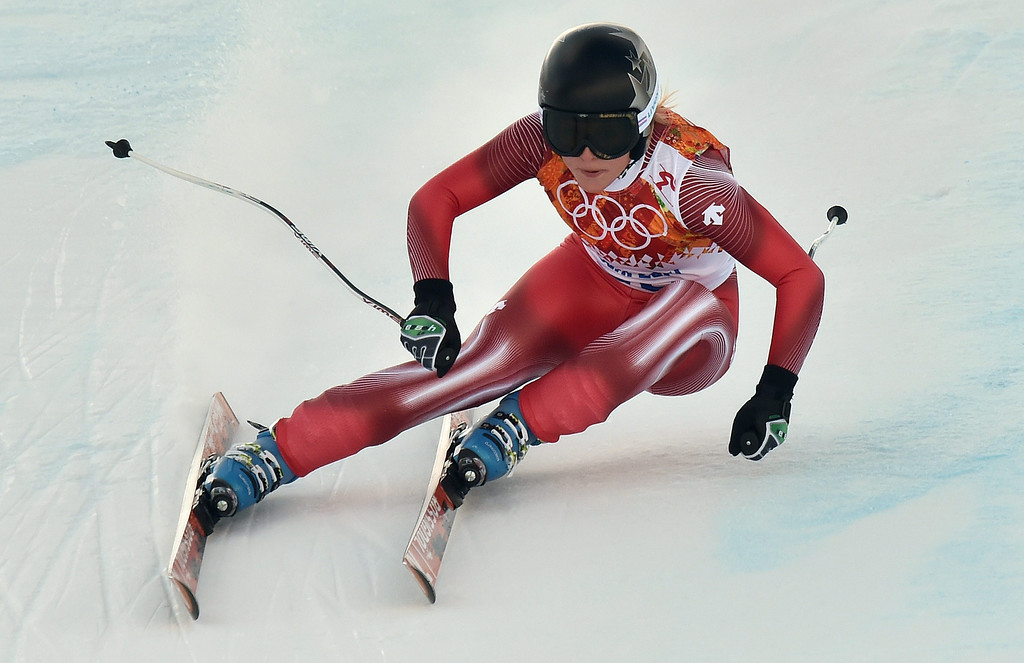 . Lara Gut of Switzerland in action during the Downhill portion of the Women\'s Super Combined race at the Rosa Khutor Alpine Center during the Sochi 2014 Olympic Games, Krasnaya Polyana, Russia, 10 February 2014.  EPA/JUSTIN LANE