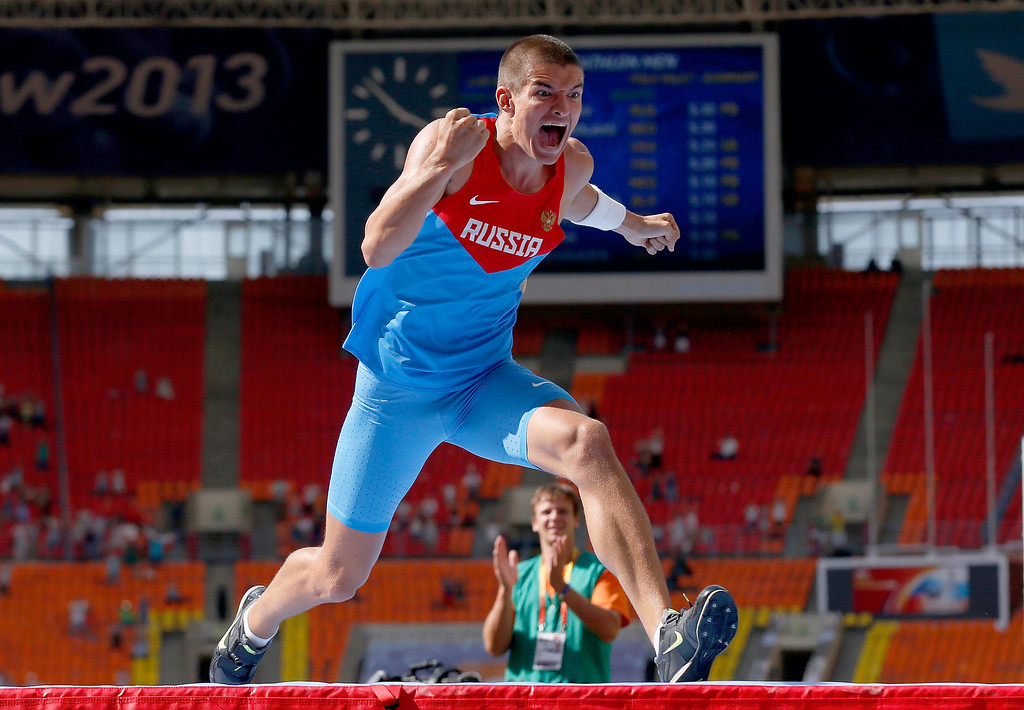 . Russia\'s Ilya Shkurenev celebrates after setting his personal best in the pole vault in the decathlon at the World Athletics Championships in the Luzhniki stadium in Moscow, Russia, Sunday, Aug. 11, 2013. (AP Photo/Matt Dunham)