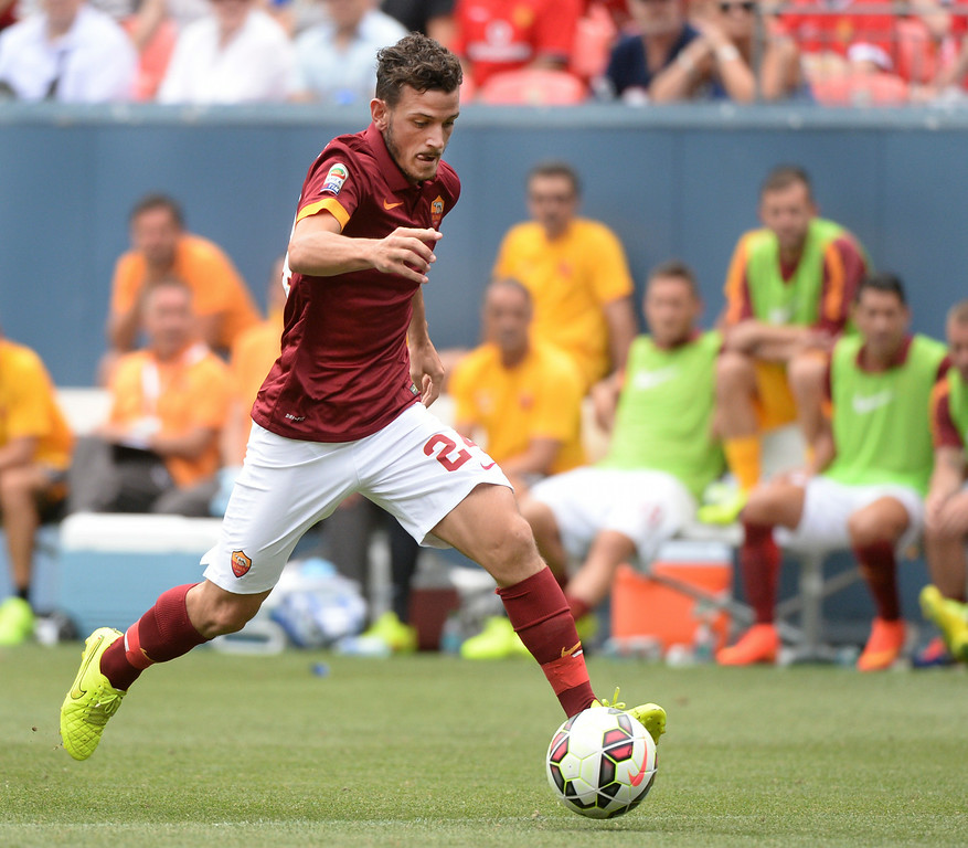 . AS Roma midfielder Akessandro Florenzi made a run with the ball in the second half. Manchester United defeated AS Roma 3-2 in an exhibition soccer game at Sports Authority Field in Denver Saturday afternoon, July 27, 2014. Photo by Karl Gehring/The Denver Post