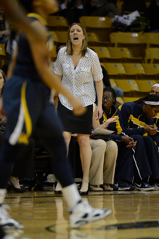 . California Golden Bears head coach Lindsay Gottlieb yells out to the ref during their game against the Colorado Buffaloes Sunday, January 6, 2013 at Coors Events Center. John Leyba, The Denver Post