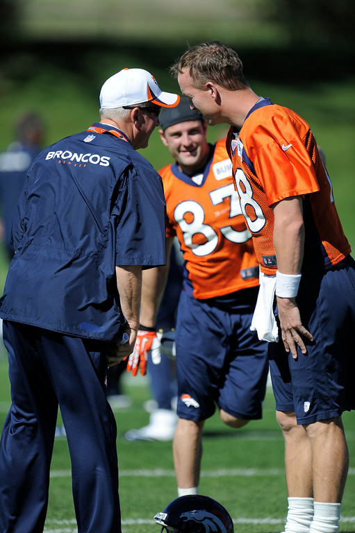 . Head coach John Fox of the Denver Broncos chats with quarterback Peyton Manning (18) of the Denver Broncos before practice September 25, 2013 at Dove Valley. (Photo by John Leyba/The Denver Post)