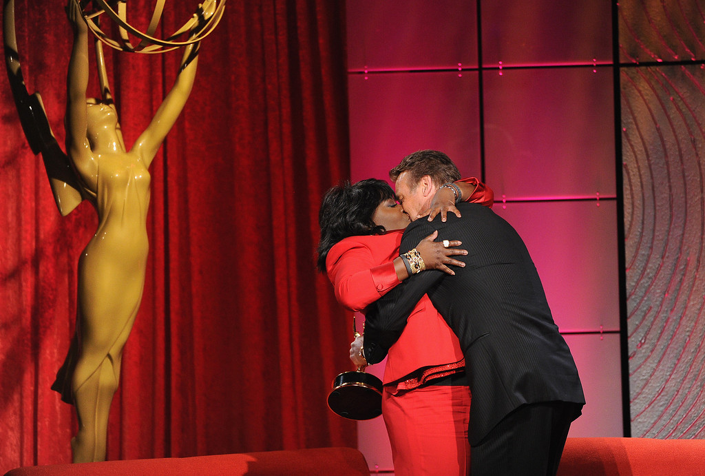 . Comedian Sheryl Underwood (L) and actor Doug Davidson speak onstage during The 40th Annual Daytime Emmy Awards at The Beverly Hilton Hotel on June 16, 2013 in Beverly Hills, California.  (Photo by Kevin Winter/Getty Images)