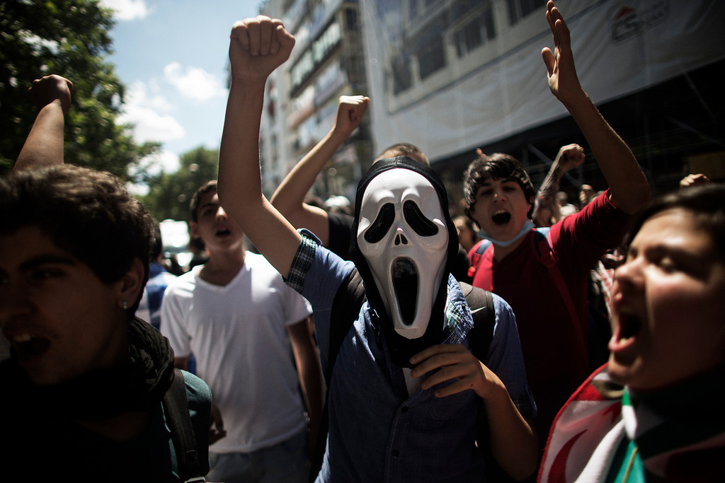 . A Turkish demonstrators protest in front of the prime minister\'s office in Ankara on June 4, 2013.  AFP PHOTO / MARCO  LONGARI/AFP/Getty Images
