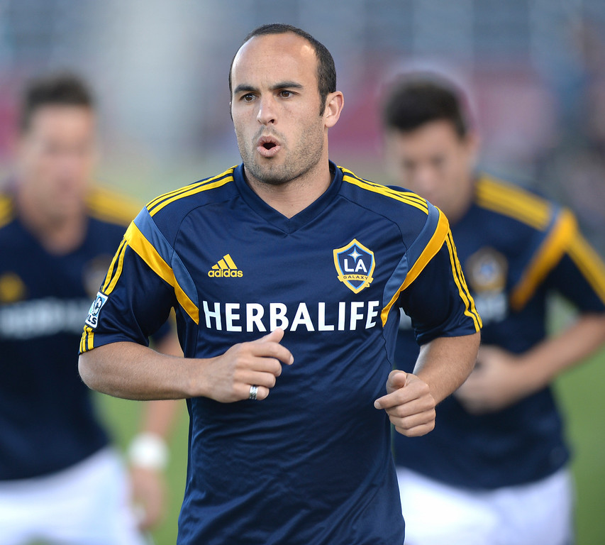 . COMMERCE CITY, CO - MAY 3:  Galaxy midfielder Landon Donovan warmed up before the game Saturday night. The Colorado Rapids hosted the Los Angeles Galaxy Saturday night, May 3, 2014 at Dick\'s Sporting Good Park. (Photo by Karl Gehring/The Denver Post)