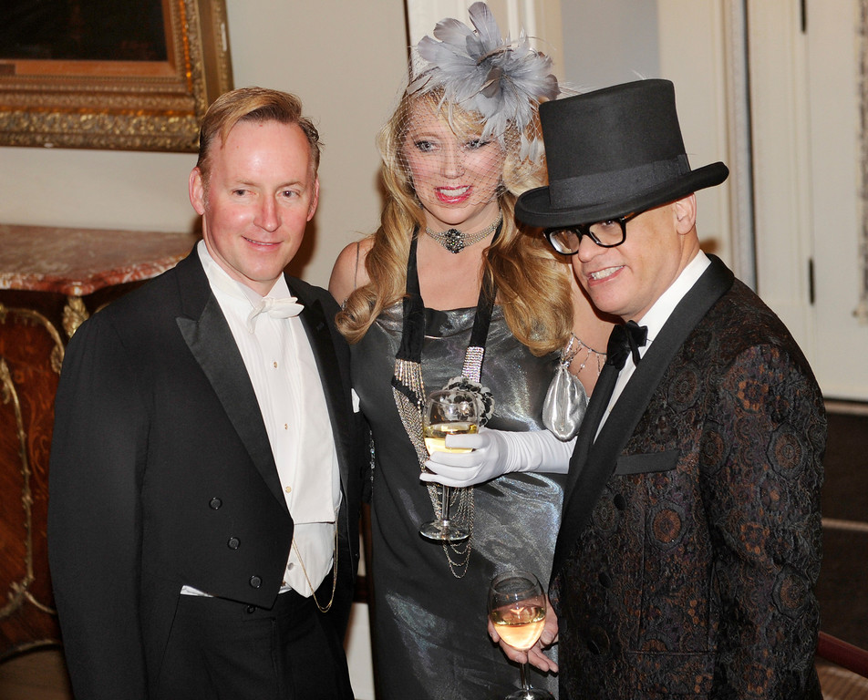 . DENVER, CO. - JANUARY 04:  Dave Barnes, left, joined event co-chairs Holly Kylberg and Charles Goldstein for a photograph. The Rocky Mountain PBS Masterpiece Costume Ball attracted more than 200 fans of the Downton Abbey television drama Saturday night, January 4, 2014 at the Grant Humphreys Mansion. The show\'s new season starts Sunday night. The event also included a silent auction, historical displays, and a costume contest. Photo By Karl Gehring/The Denver Post